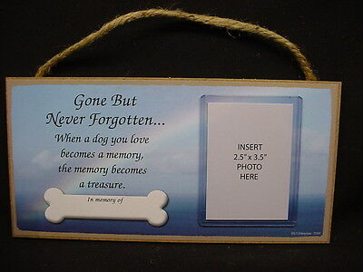 In Memory of DOG RAINBOW MEMORIAL photo picture frame WOOD PLAQUE puppy sign USA