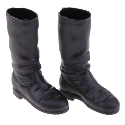 1/6 Shoes Women Low-heeled Black Boots for 12'' Phicen Kumik Figure Hot Doll