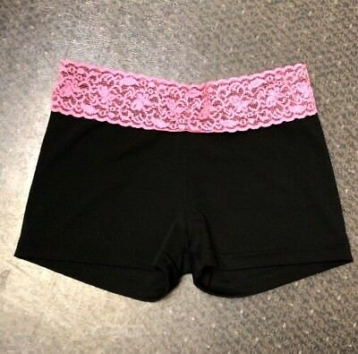 Girls Spandex Booty Shorts Black Pink Lace Waist Dance Size Xl X Large