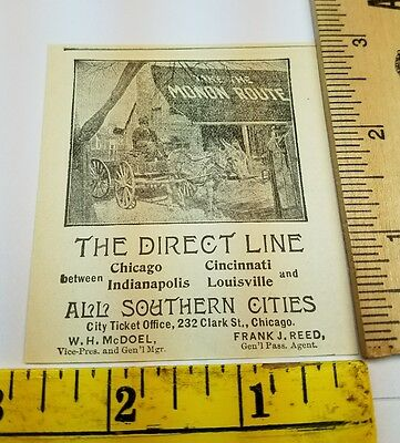 Old 1896 Ad Advertising Monon Route Direct Line Horse Wagon Fare Trip Chicago IL
