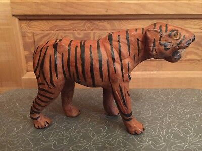 Leather Tiger Figurine With Yellow Glass Eyes