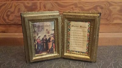 Vintage Mid Century Florentine Wood Book Plaque Marriage Blessing Made in Italy