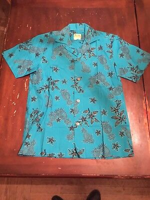 Vintage Hawaiiana Made In Hawaii Blue Cotton Shirt
