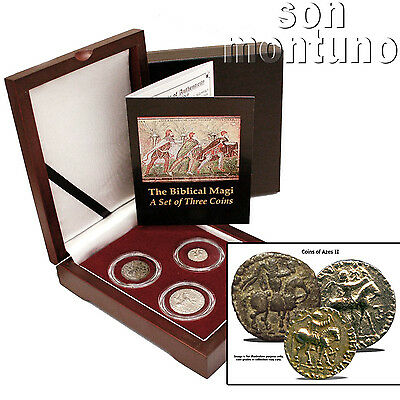 3 BIBLICAL MAGI COIN BOX SET Ancient Persia Silver/Bronze Azes II Jesus 35BC-5AD