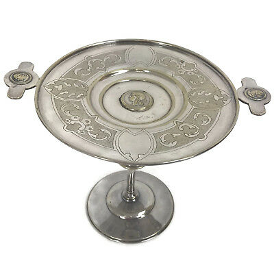 """Antique Victorian Silverplated Roman Medallion Compote High Stand Tazza 7"""""""