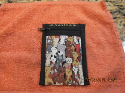 Mini DANICA wallet coin pouch CROWD of CATS embroidered 'name' zippered RARE