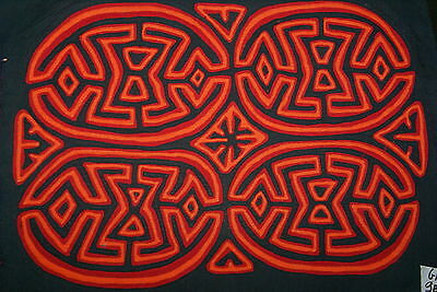 Kuna Geometric Abstract Art Mola Hand stitched Applique Brain Coral maze Red 9B