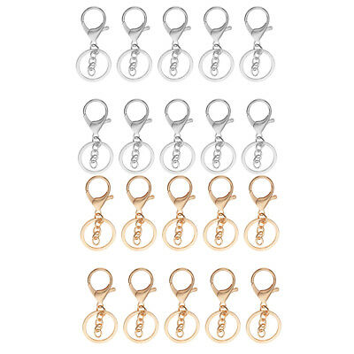 20x Alloy Snap Lobster Clasp Clip Hook with Chain Keychain Key Ring Findings