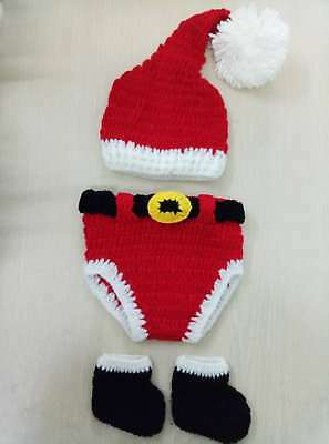 Christmas Outfits Baby Boy Newborn 0-6M Knit Crochet Costume Photo Prop