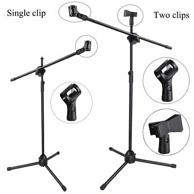Professional Boom Tripod Microphone Mic Stand Holder Adjustable Black + Clips