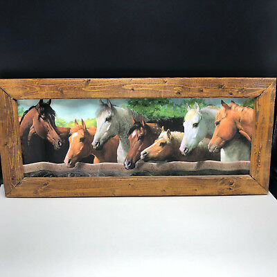 """HORSE METAL PICTURE FRAME FOLK ART 21 INCH 21"""" Stallion mare white pony mustang"""