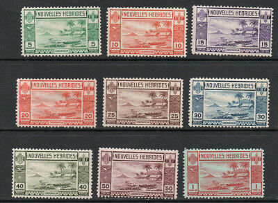 1938, New Hebrides, French issue sg52/60, part set of 9 to 1f u/m/m.