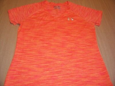Under Armour Heatgear Semi Fitted Orange Athletic Shirt Womens Small Excellent