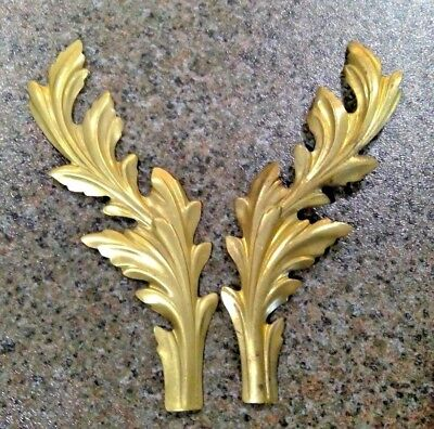 Pair Solid Brass Scrolling Acanthus Leaves Art Nouveau Style Stampings