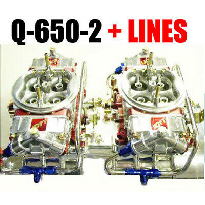 Quick Fuel Q-650-2 650 Cfm Gas Tunnel Ram  Carbs With Line Kit Look Thx