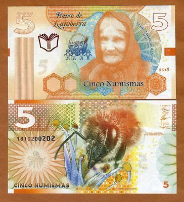 Kamberra, 5 Numismas, 2018, New Redesigned Basic Series, UNC > Bee