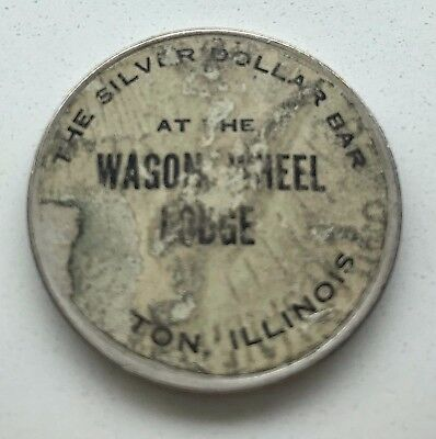1922 PEACE SILVER DOLLAR BAR @ WAGON WHEEL LODGE ROCKTON ILLINOIS IL Adv STICKER