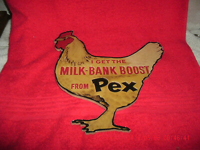 Vintage Advertisment Wood Chicken Rooster Plaque Plack Milk-Bank Boost From Pex