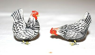Two Miniature Composition Chickens, With Metal Feet. Early 1900s Germany