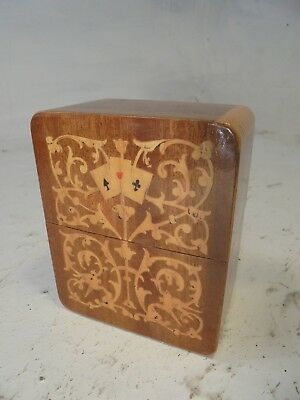 Vintage inlaid Playing Card Box , Sorrento Ware type     ref  4406