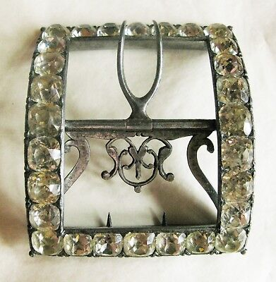 Gorgeous Large Georgian Silver ?, Steel & Paste Buckle 7 Cms Wide