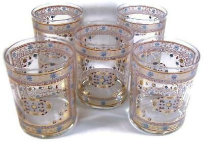 Mid Century Culver Old Fashioned Tumbler Set Mys Pattern Gold Red & Turq Floral