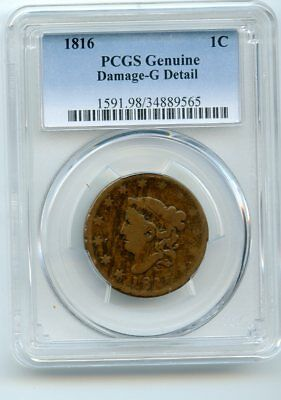 1816 Coronet Head Cent (PCGS Genuine)  Damaged-G Detail