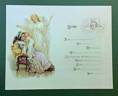 Guardian Angel Baby Birth Certificate Old Print Factory