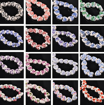 Wholesale 14mm Heart Ceramic Porcelain Flower DIY Findings Loose Spacer Beads