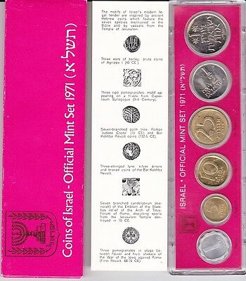 1971 ISRAEL 6 Coins Mint Set with COA