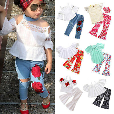 Toddler Kids Baby Girls Outfits Lace T-shirts Tops Long Pants Clothes 2PCS Set