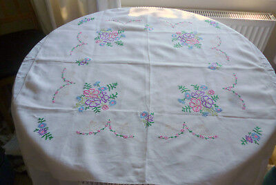 Delightful Raised Embroidered Linen Tablecloth
