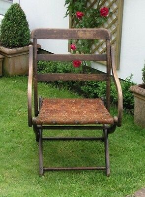 Original Oak Folding Chair Campaign Chair With Arms And Carpet Seat