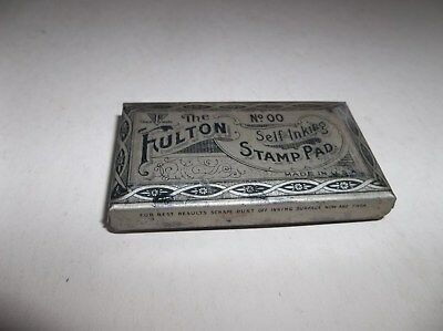 OLD Vtg Tin Litho Fulton Self Inking Stamp Pad (in Case with Pad)