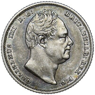 1837 Sixpence - William Iv British Silver Coin - V Nice