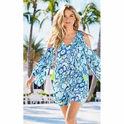 172fd3dbcf47 New Lilly Pulitzer BENICIA Open Cold Shoulder Tunic Dress S Indigo Sunset  Swim