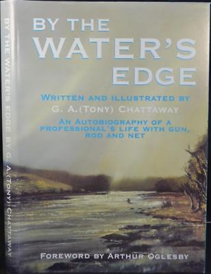 BY THE WATER'S EDGE WITH GUN, ROD & NET Signed Wildfowling Fly Fishing Shooting
