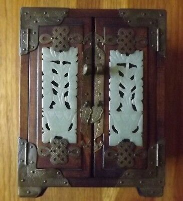 Antique Chinese Jewelry Box White Jade Brass Accents Dove Tail Shed Find