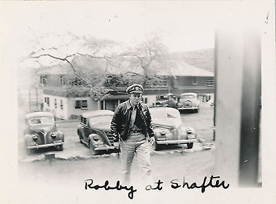 WWII 1940s Hawaii PhotoRobby at  Ft Shafter, blackout lights on cars