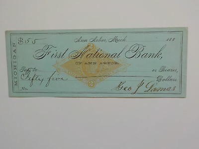 Antique Check 1800s First National Bank Ann Arbor Michigan Paper Money Currency