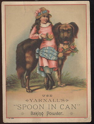 Large 1880-90S Trade Card Advertising Yarnall's Spoon In Can Brand Baking Powder