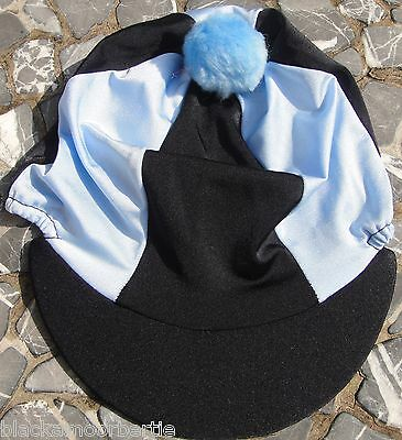 Riding Hat Silk Skull cap Cover BLACK & BABY BLUE With OR w/o Pompom