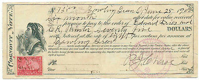 1900 - Bowling Green, OH - Cognovit Note for $75.00 at 8% Interest