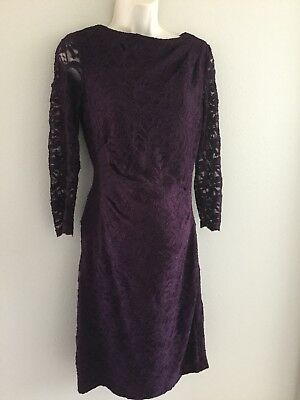 Pea in the Pod Lace Maternity Dress Taylor sz Small S Maroon Lined Dressy