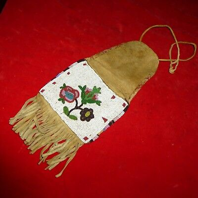 """Rare Ca 1880 Native American Plains Indian 14 1/2 """" Beaded Buckskin Pipe Pouch"""