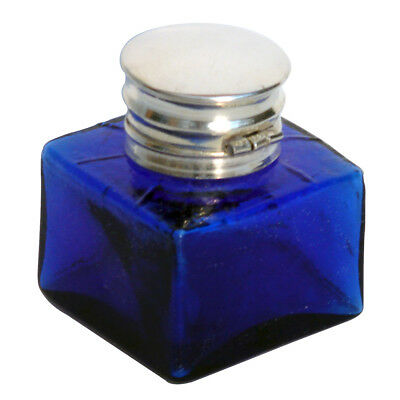 Antique COBALT BLUE GLASS INKWELL writing box ink well