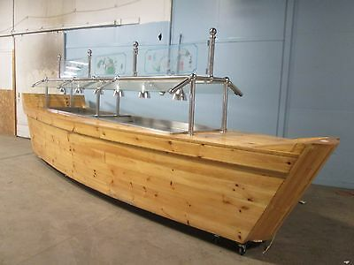 "Custom Built Unique 19½' L ""boat"" Ice Bath Cold Food Bar-Salad Bar-Sushi Buffet"
