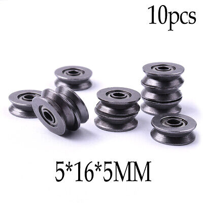 10Pcs 5x16x5MM V Groove Sealed Guide Pulley Rail Ball Bearing V623/603ZZ