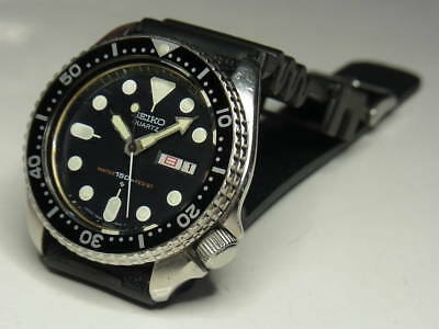 Seiko 150m Large Diver 7546A Mens Watch Black Dial Day-Date Batt. Replaced