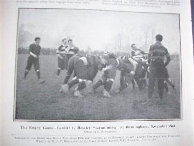 1901 Rugby CARDIFF v Moseley  : match photo + Soccer report  vintage magazine11